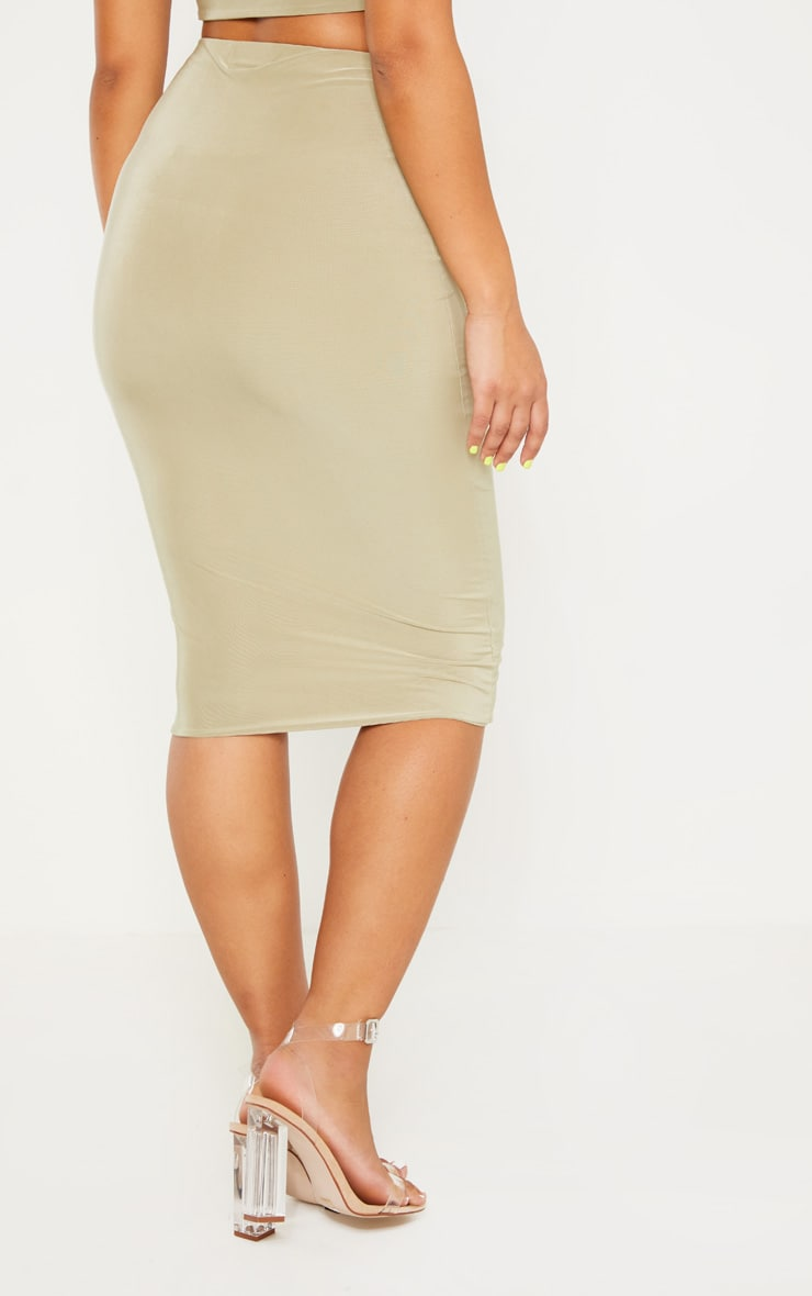 Sage Green Second Skin Slinky Midi Skirt 4