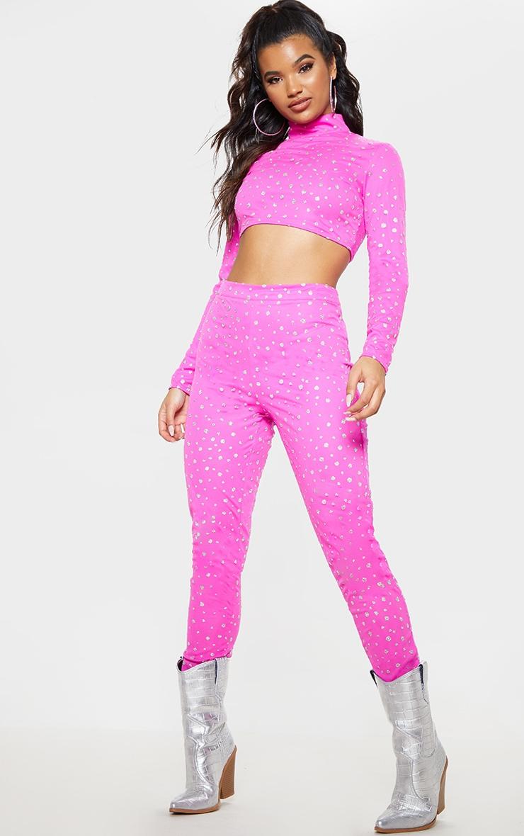 Hot Pink High Waisted Glitter Mesh Pants 1
