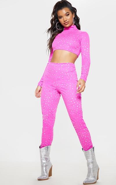 e14c658216b Hot Pink High Waisted Glitter Mesh Trouser