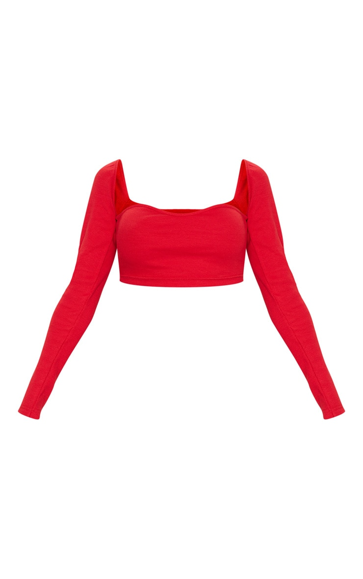 Red Structured Rib Sweetheart Neck Crop Top 5