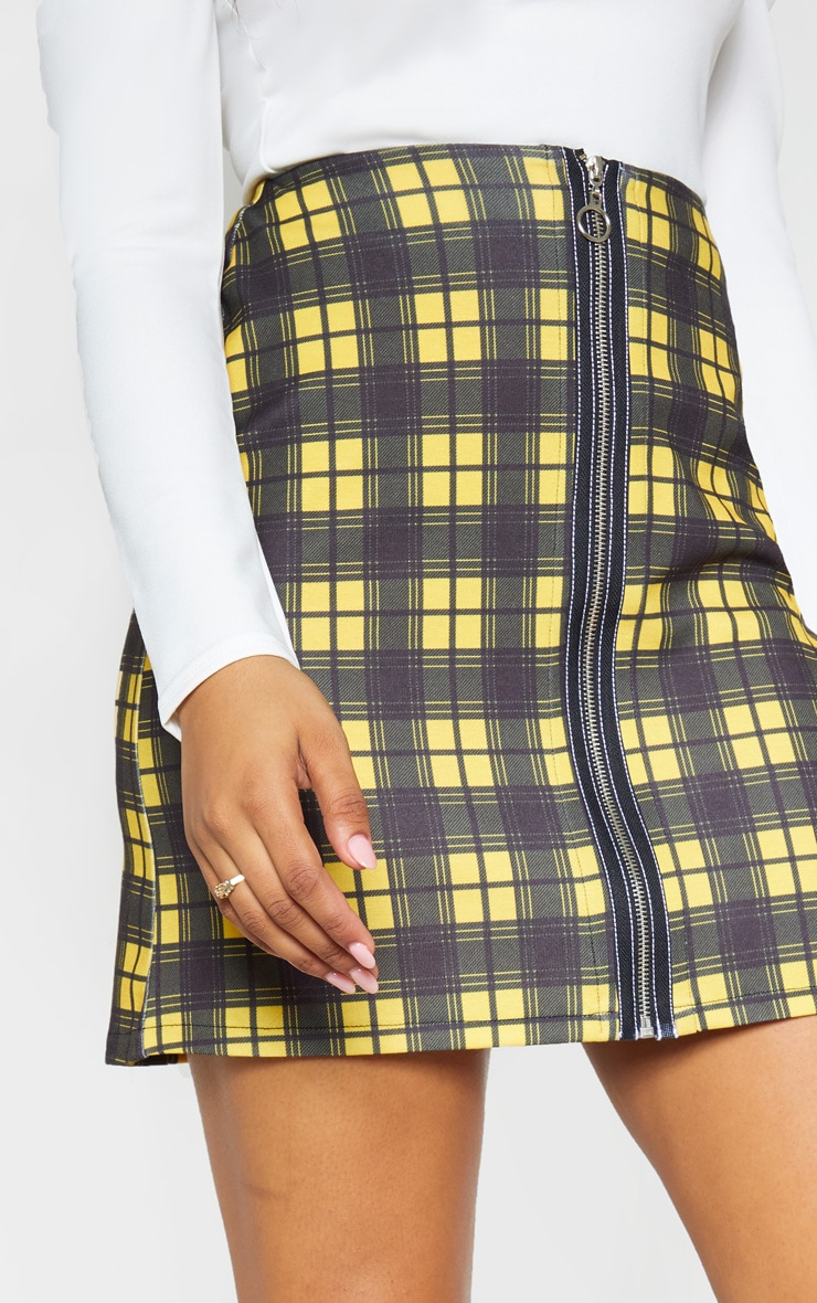 Tall Mustard A Line Checked Zip Front Skirt 6