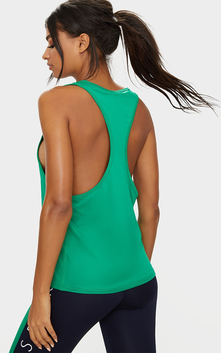 PRETTYLITTLETHING Sport Green Drop Arm Hole Racer Vest 2
