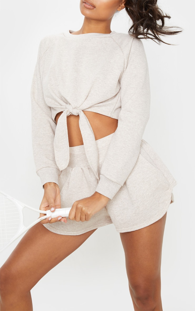 Stone Marl Tie Front Cropped Sweat 5