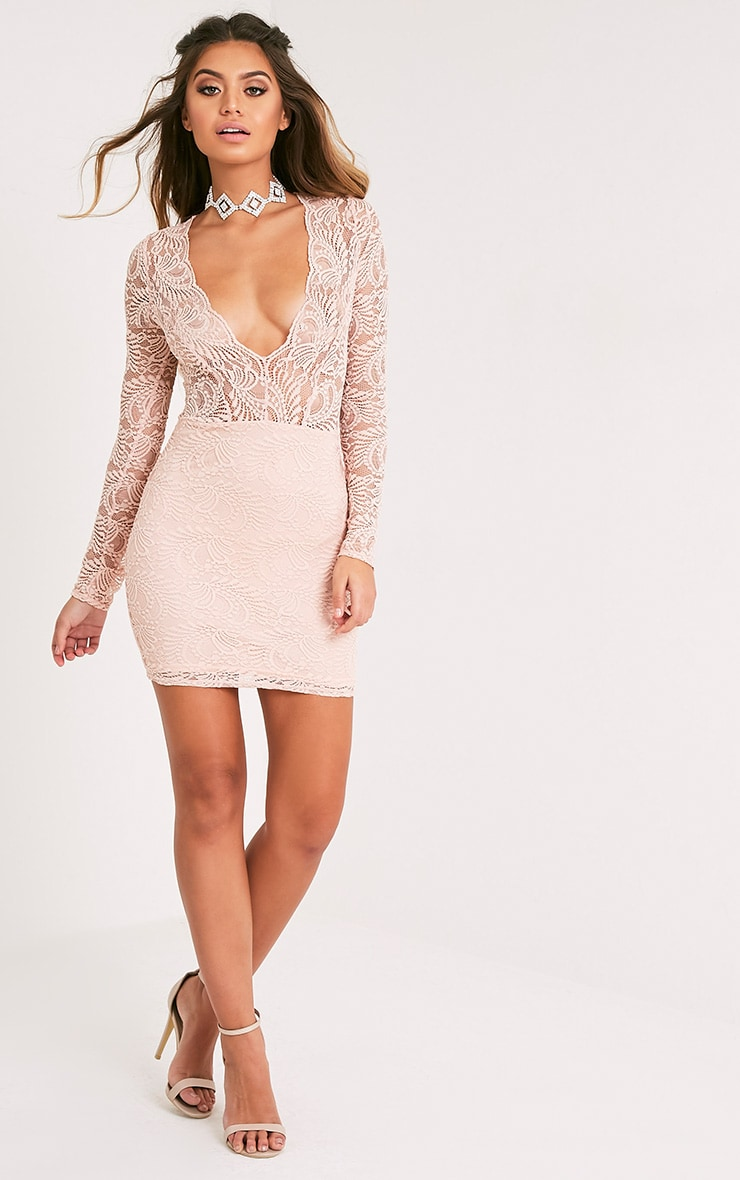 Sereenia Nude Long Sleeve Lace Bodycon Dress 5