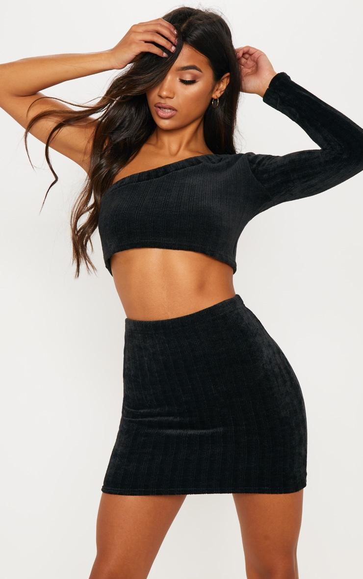 Black Chenille One Shoulder Top & Skirt Set