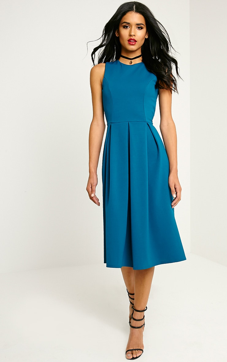 Fiona Teal Long Skater Dress 1