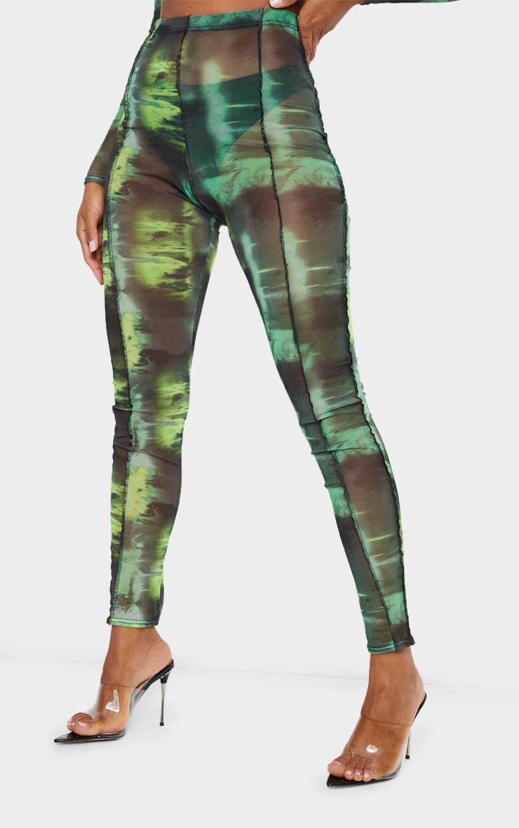 Green Abstract Water Colour Print Sheer Mesh Binding Long Sleeve Crop Top 2