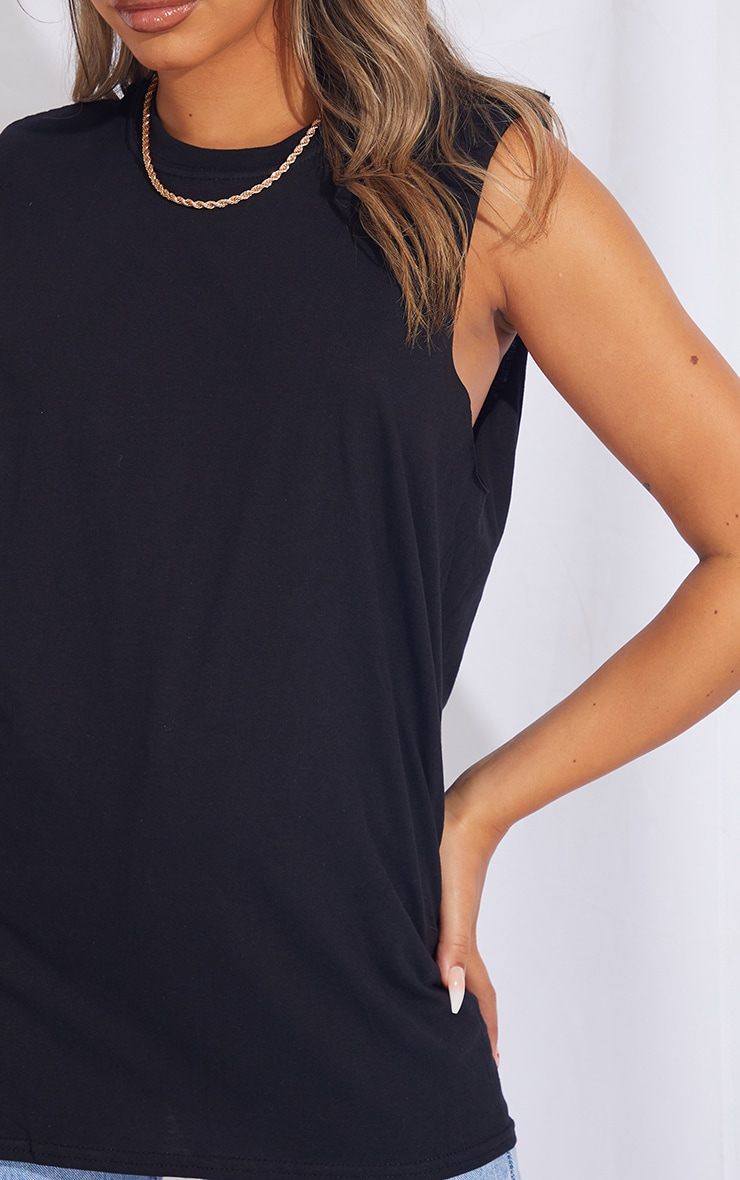 Black Shoulder Pad Drop Armhole Tank Top 4