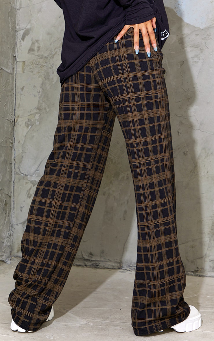 Black Classic Check Wide Leg Trousers 3
