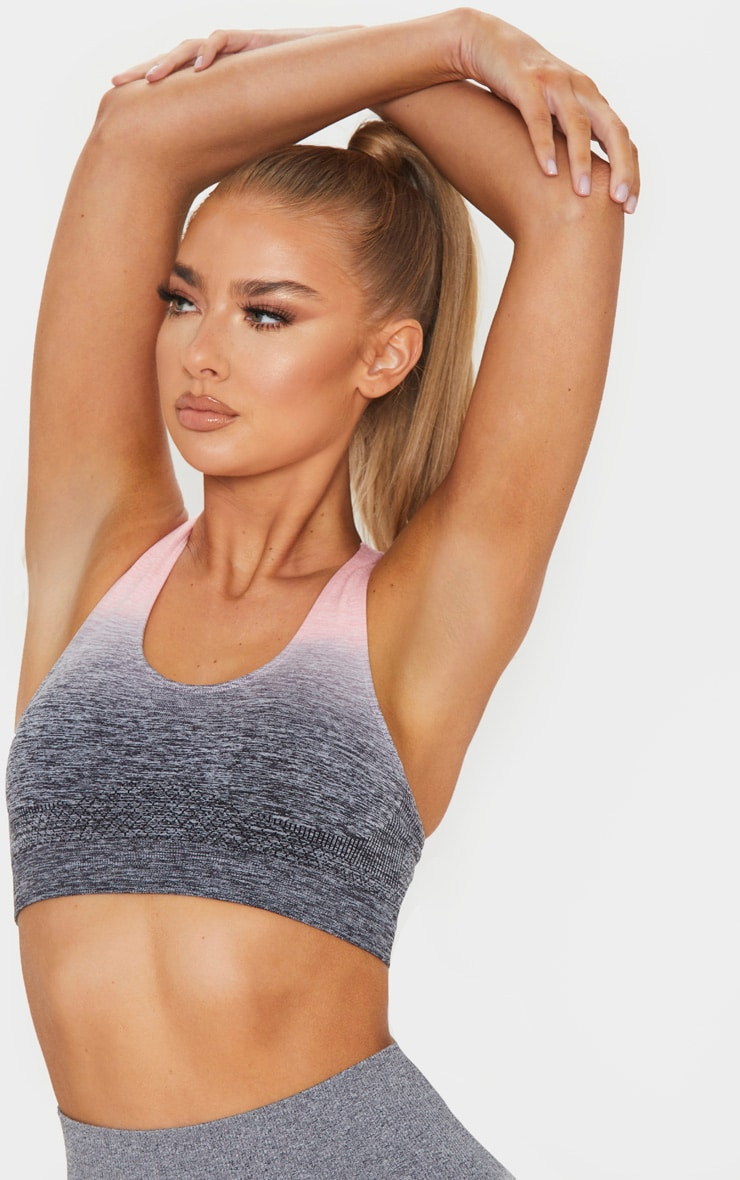 Pink Marl Ombre Seamless Padded Sports Bra 4