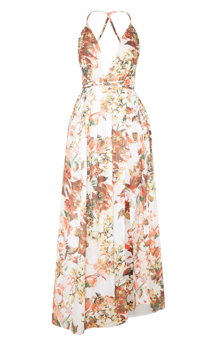 White Floral Print Chiffon Halterneck Maxi Dress 3