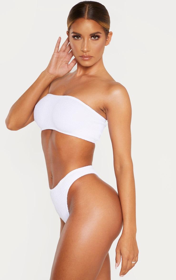 White Crinkle Thong Bikini Bottom 2