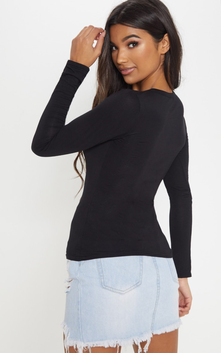 Essential Black Cotton Blend Long Sleeve Fitted T Shirt 2