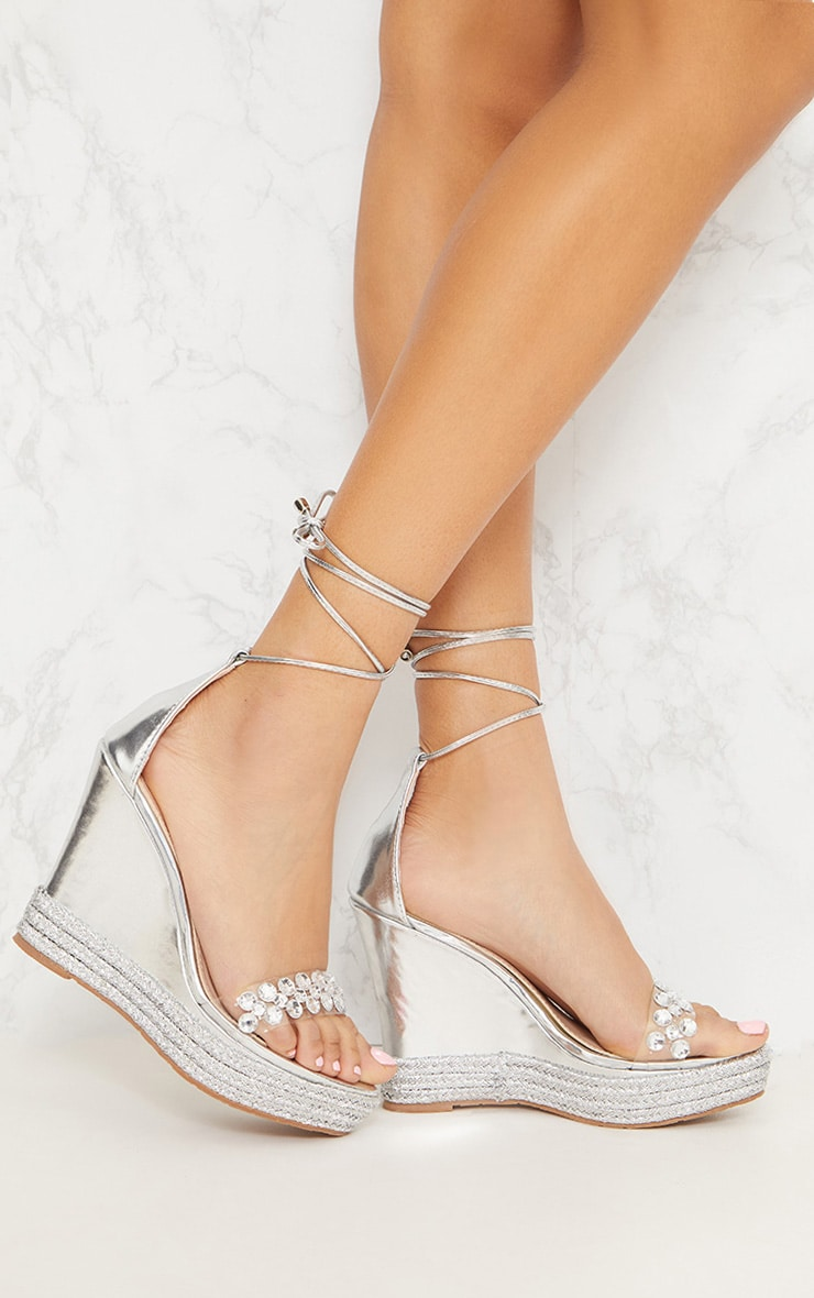 Silver Jeweled High Wedge