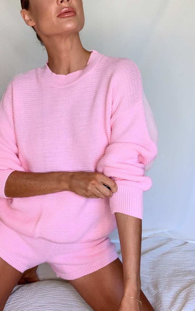 Pink Knitted Short Lounge Set 3