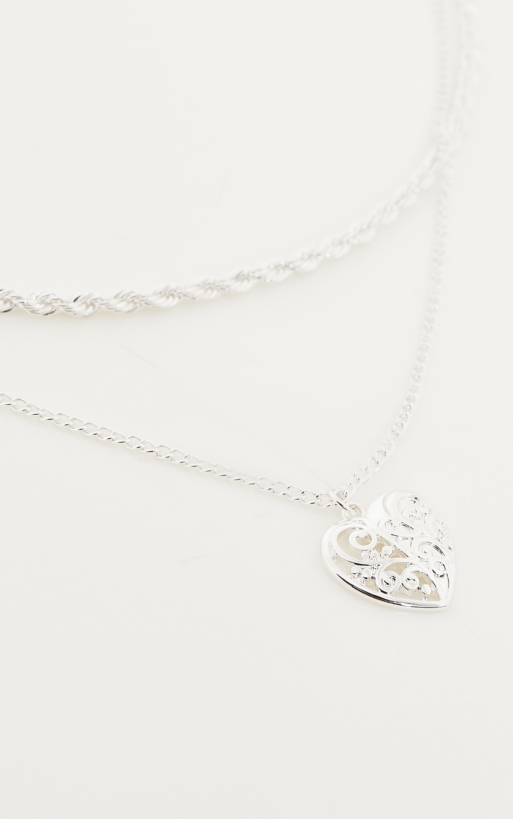 Silver Rope And Heart Charm Layering Necklace 4