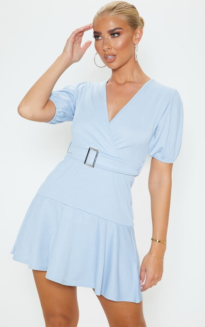 Dusty Blue Belted Puff Sleeve Skater Dress