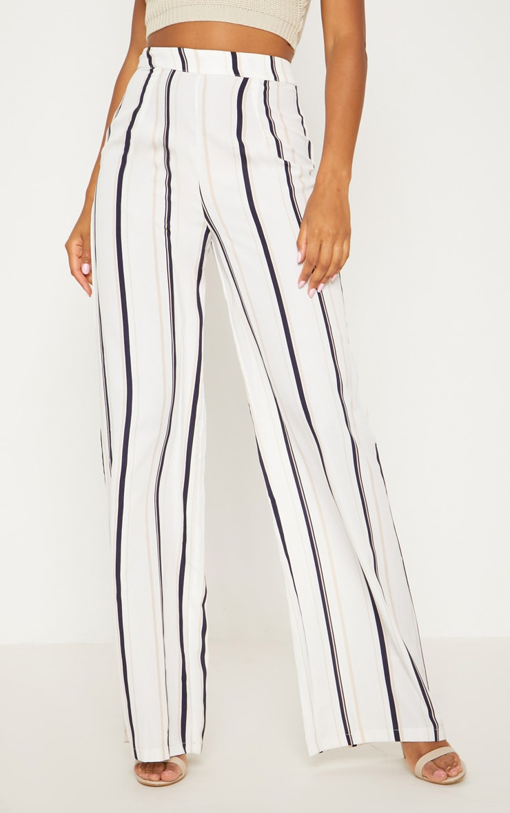 White Striped Wide Leg Trouser 2
