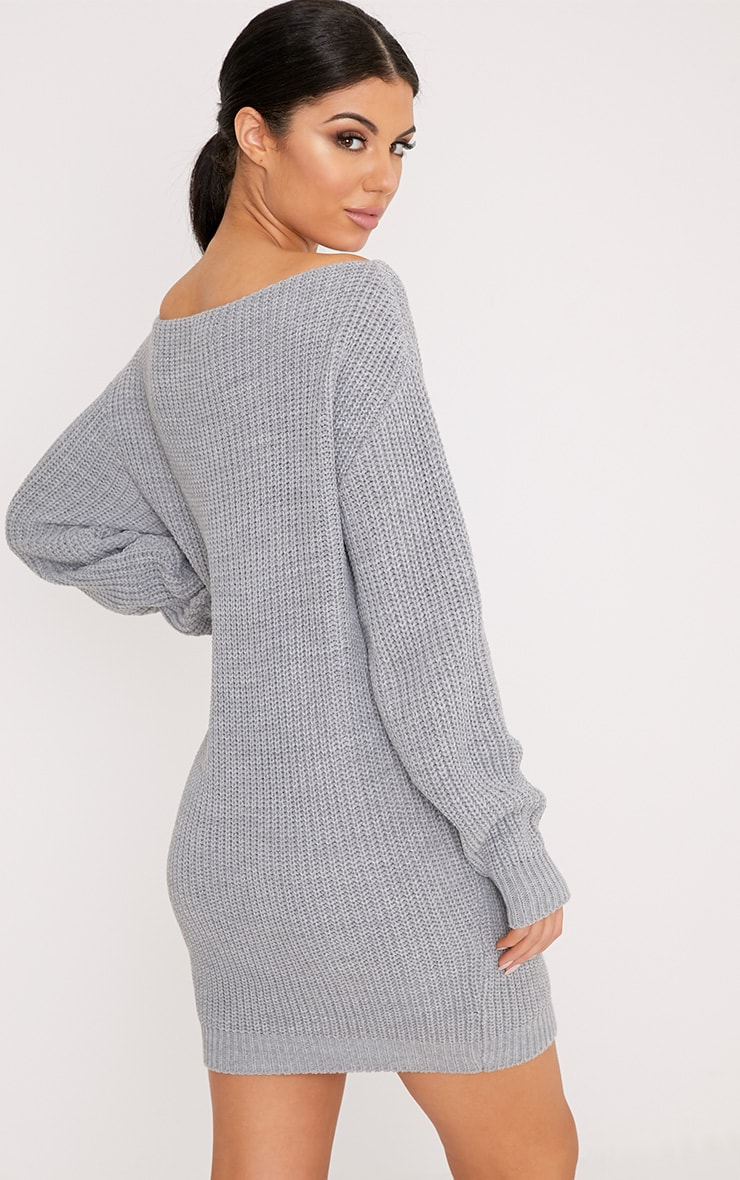 Larissa Grey Off The Shoulder Knitted Dress 2