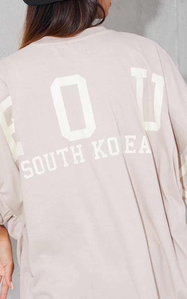 Oatmeal Seoul South Korea Slogan Short Sleeve T Shirt Dress 4