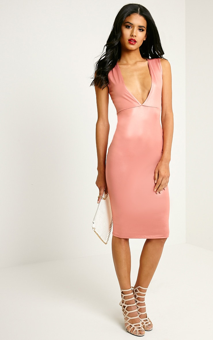 Lou Pink Shimmery Plunge Sleeveless Midi Dress 1