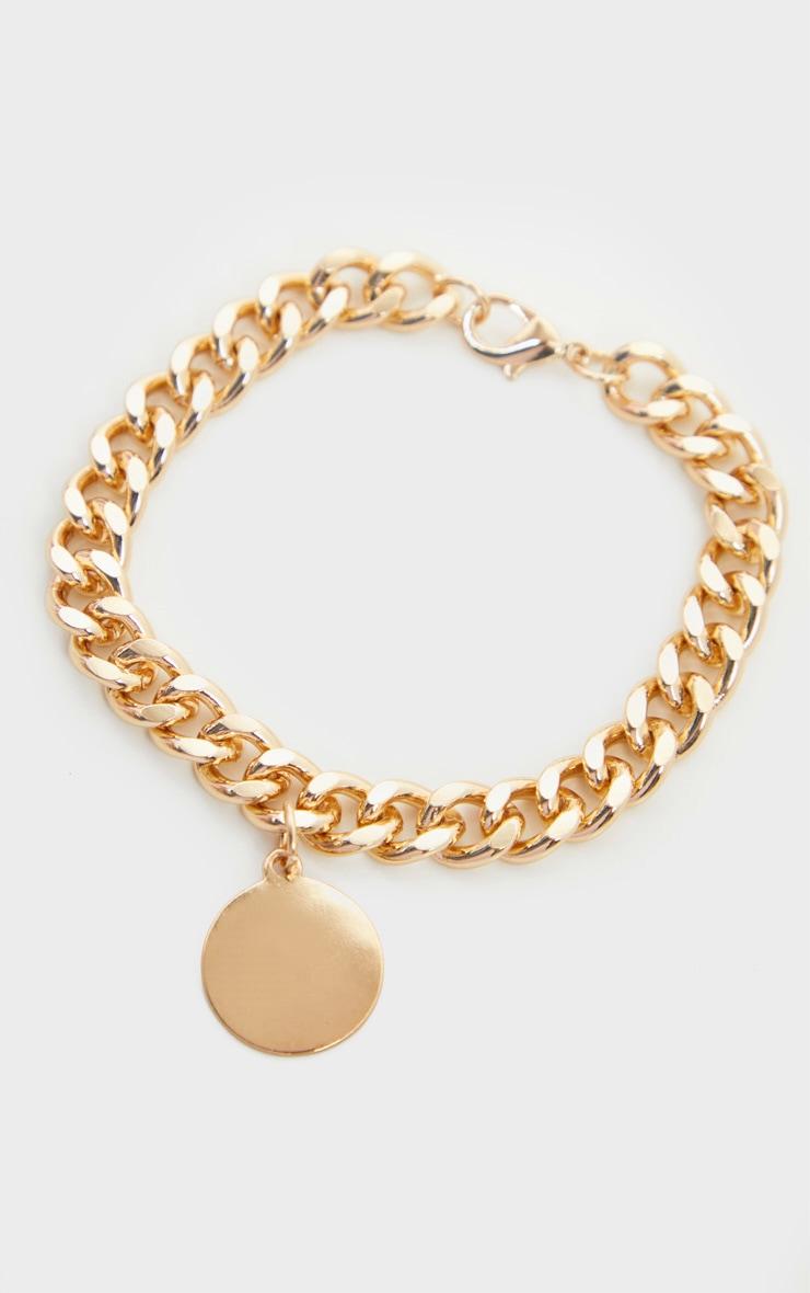 Bracelet à chaîne chunky dorée et pendentif disque 3