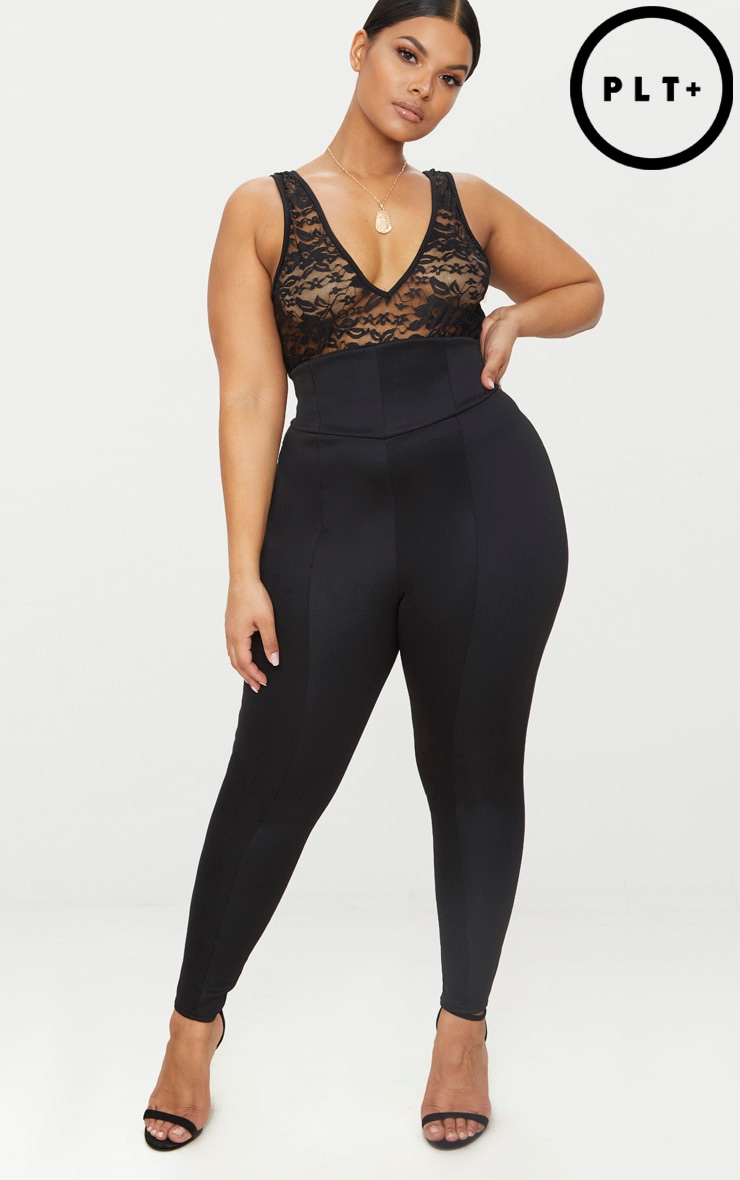 Plus Black Extreme High Waist Leggings 1