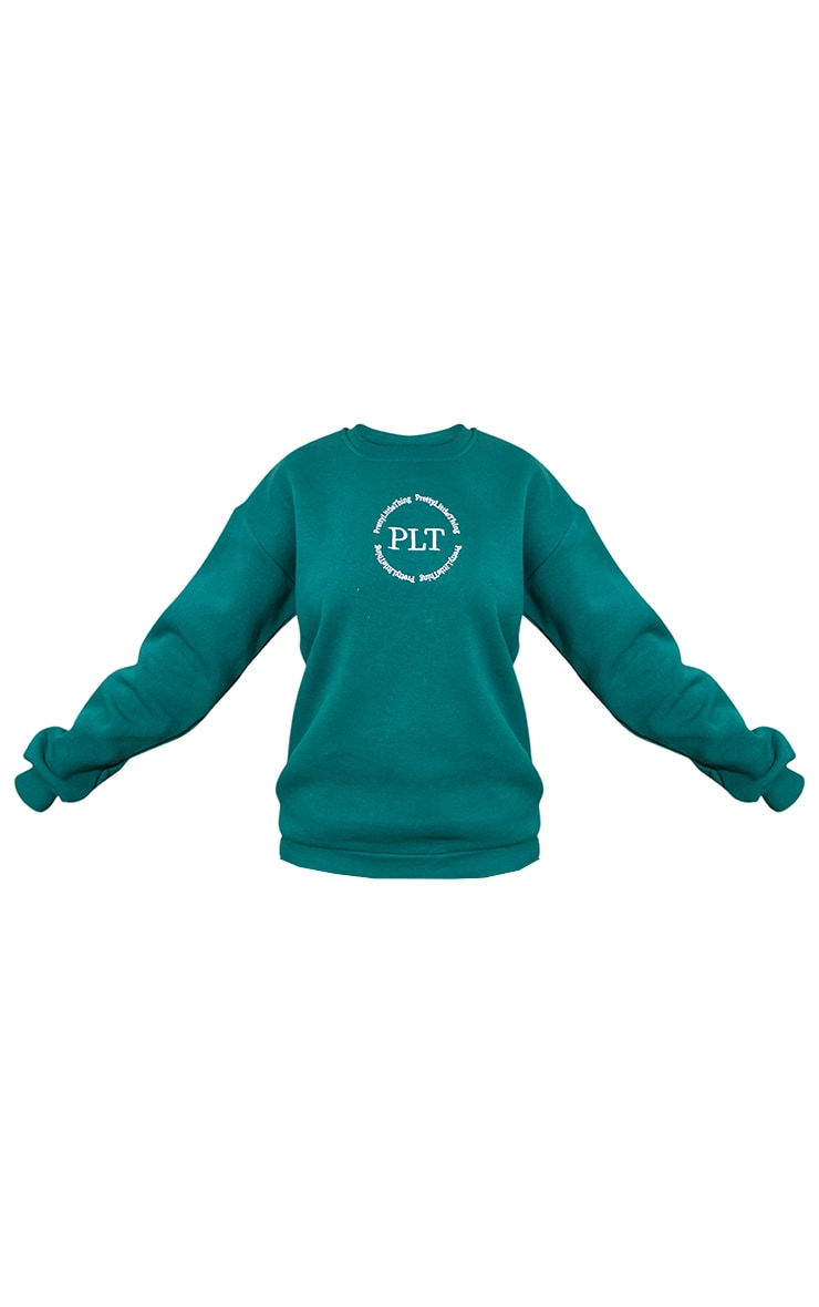 PRETTYLITTLETHING Emerald Circle Logo Sweatshirt 5