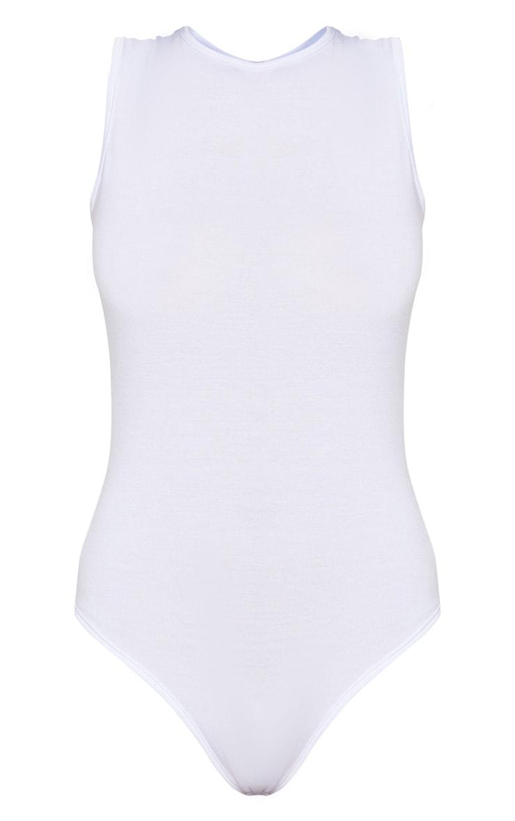 Basic White Round Neck Thong Bodysuit 3
