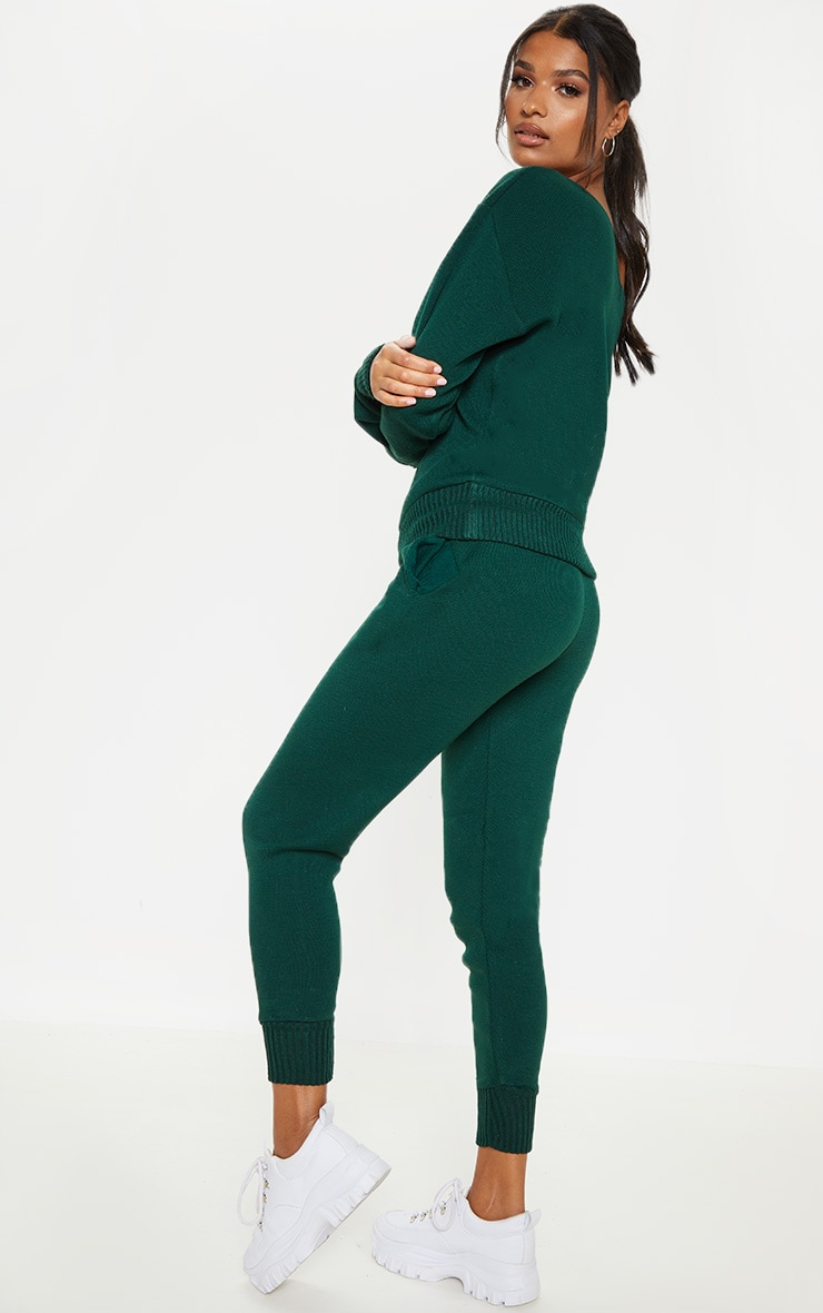 Bottle Green Knitted Lounge Set 2