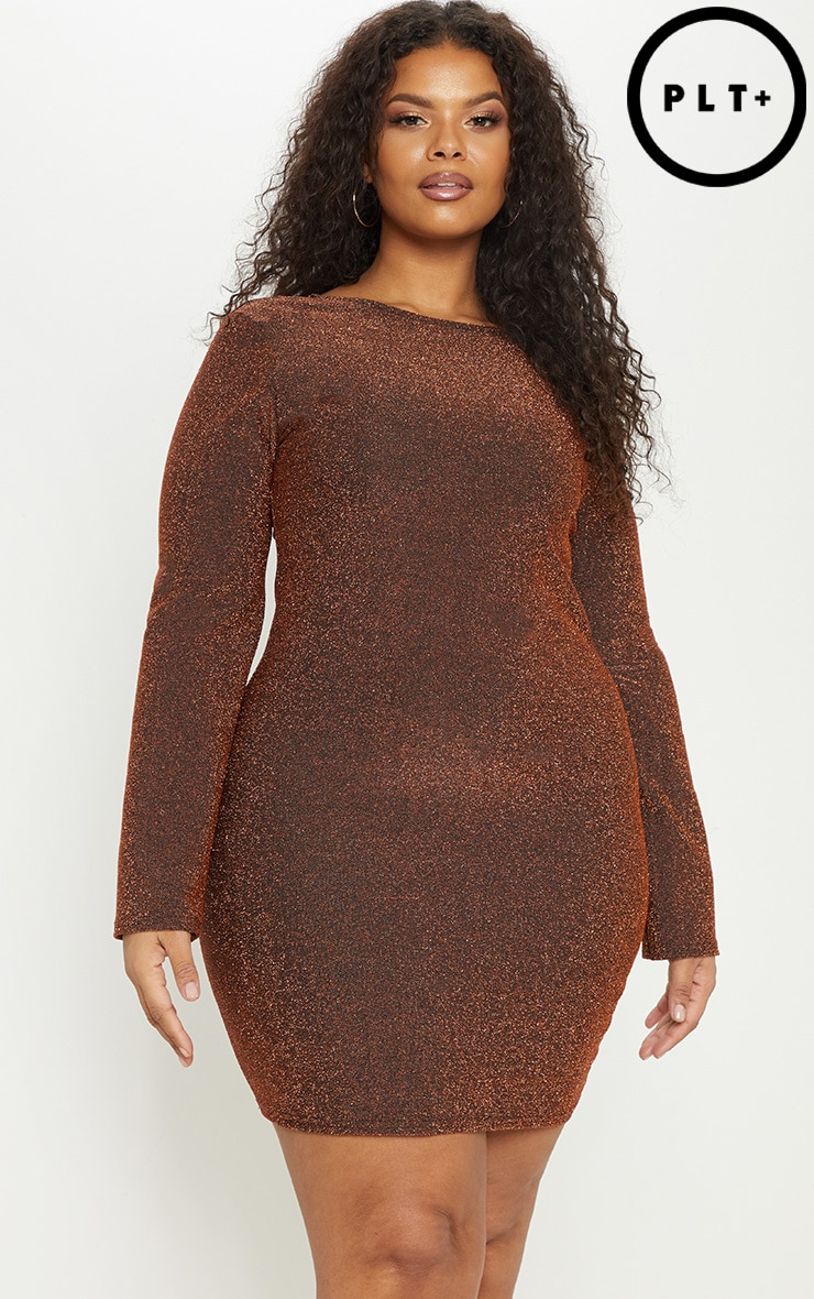 Plus Bronze Glitter Scoop Back Bodycon Dress