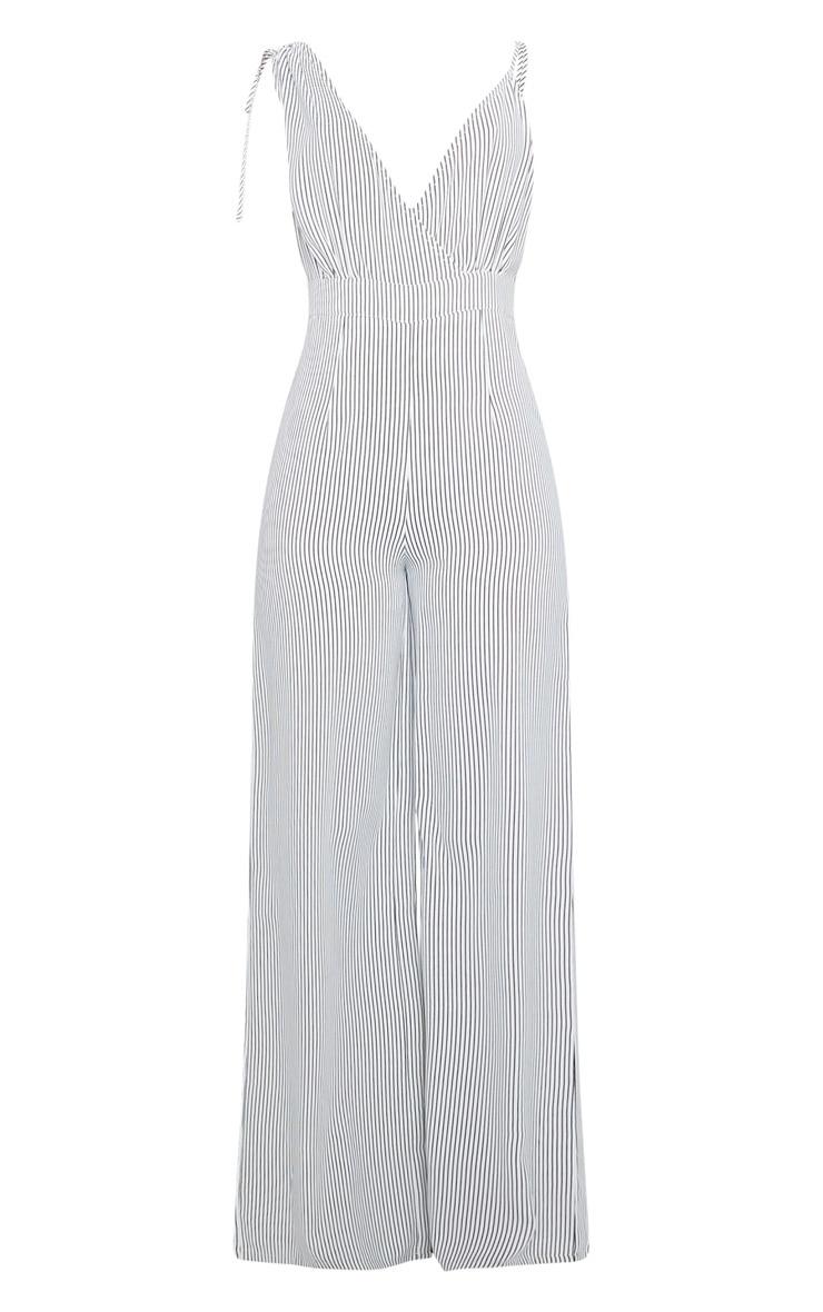 White Stripe Asymmetric Strap Jumpsuit 5