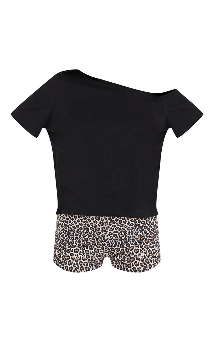 Brown Leopard Print Off The Shoulder Top & Shorts PJ Set 5