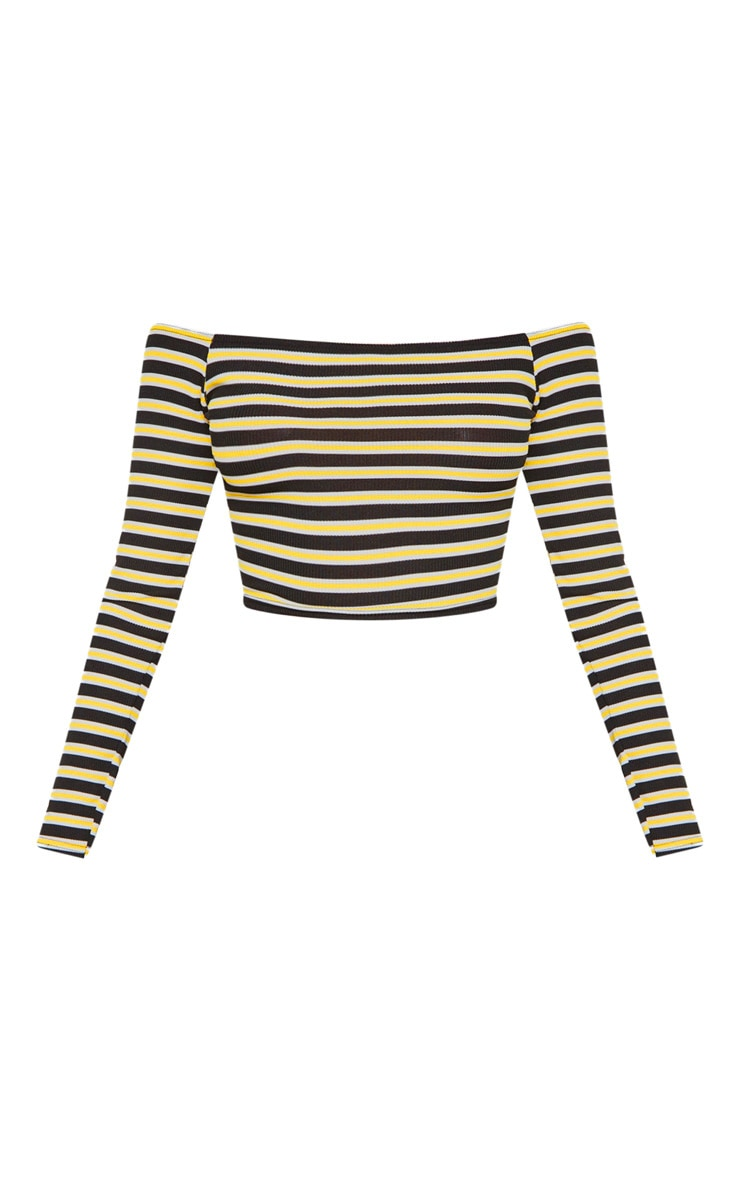 Yellow Stripe Rib Bardot Top 3