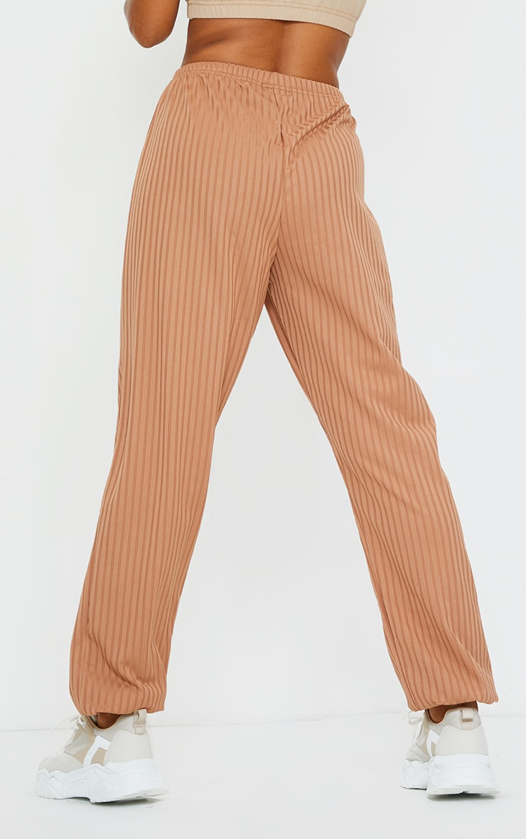 Camel Ribbed Casual Joggers 3