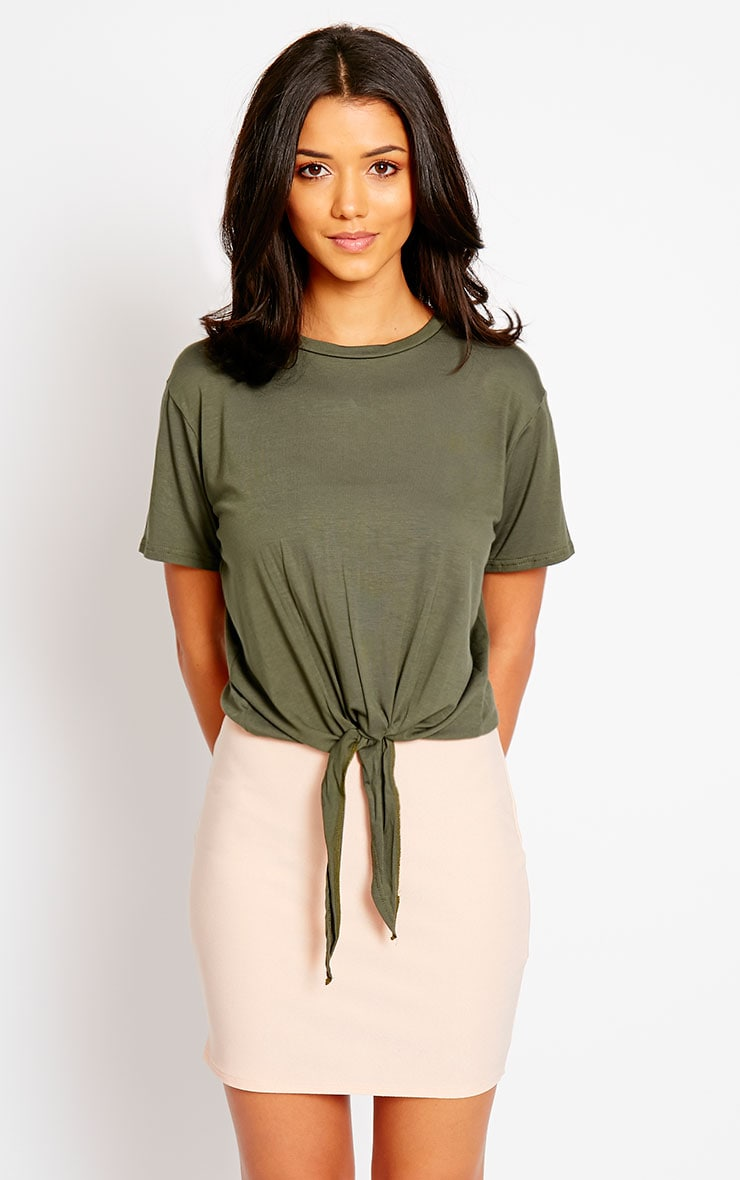 April Khaki Tie Front Crop Tee 4