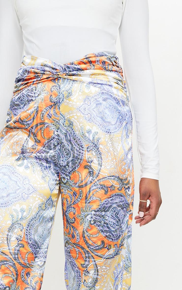 Multi Paisley Printed Satin Ruched Waist Wide Leg Pants 4