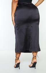 Plus Black Cross Front Satin Split Maxi Skirt 3