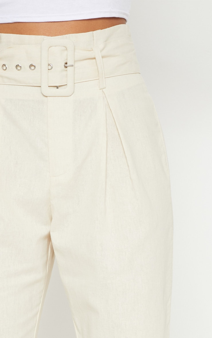 Cream Belted Paperbag Tapered Trouser 5