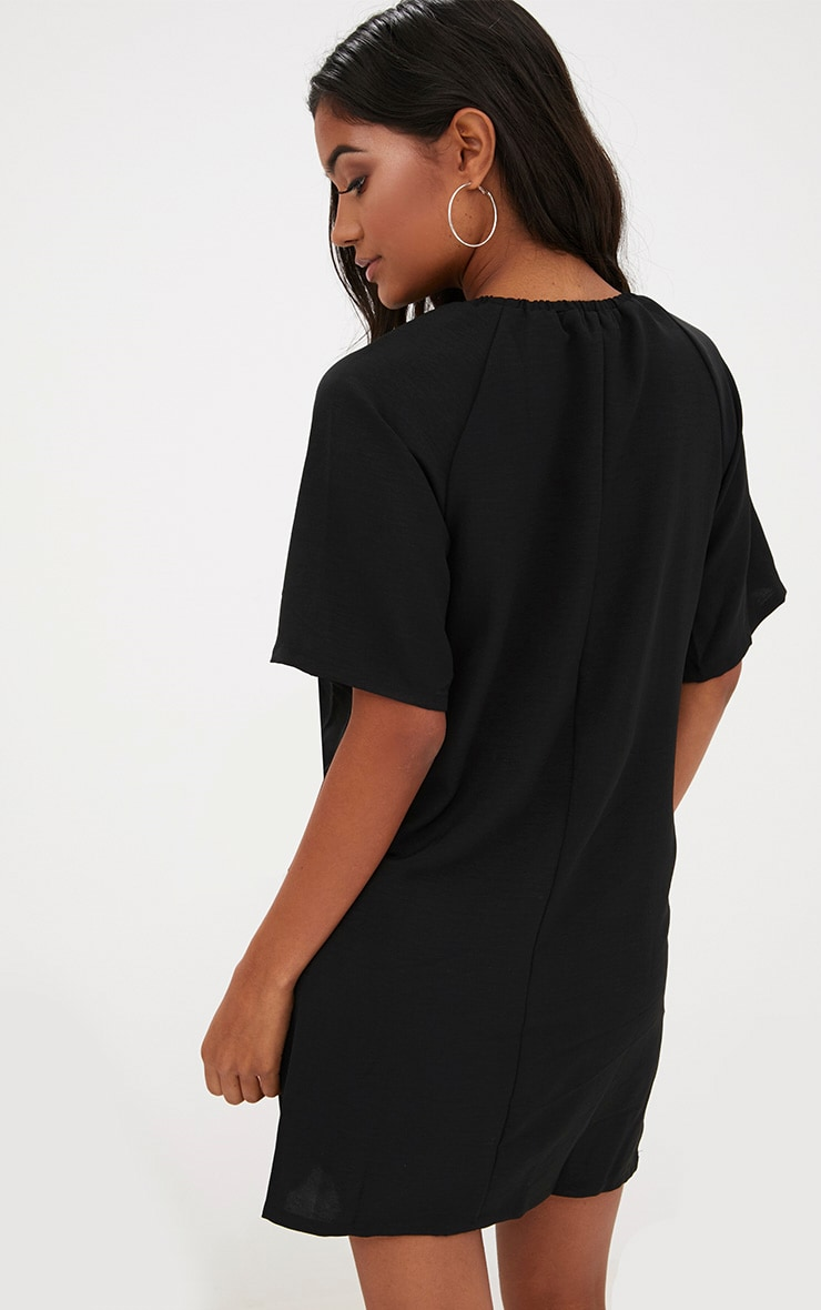 Black  Ruched Neck Detail Shift Dress 2