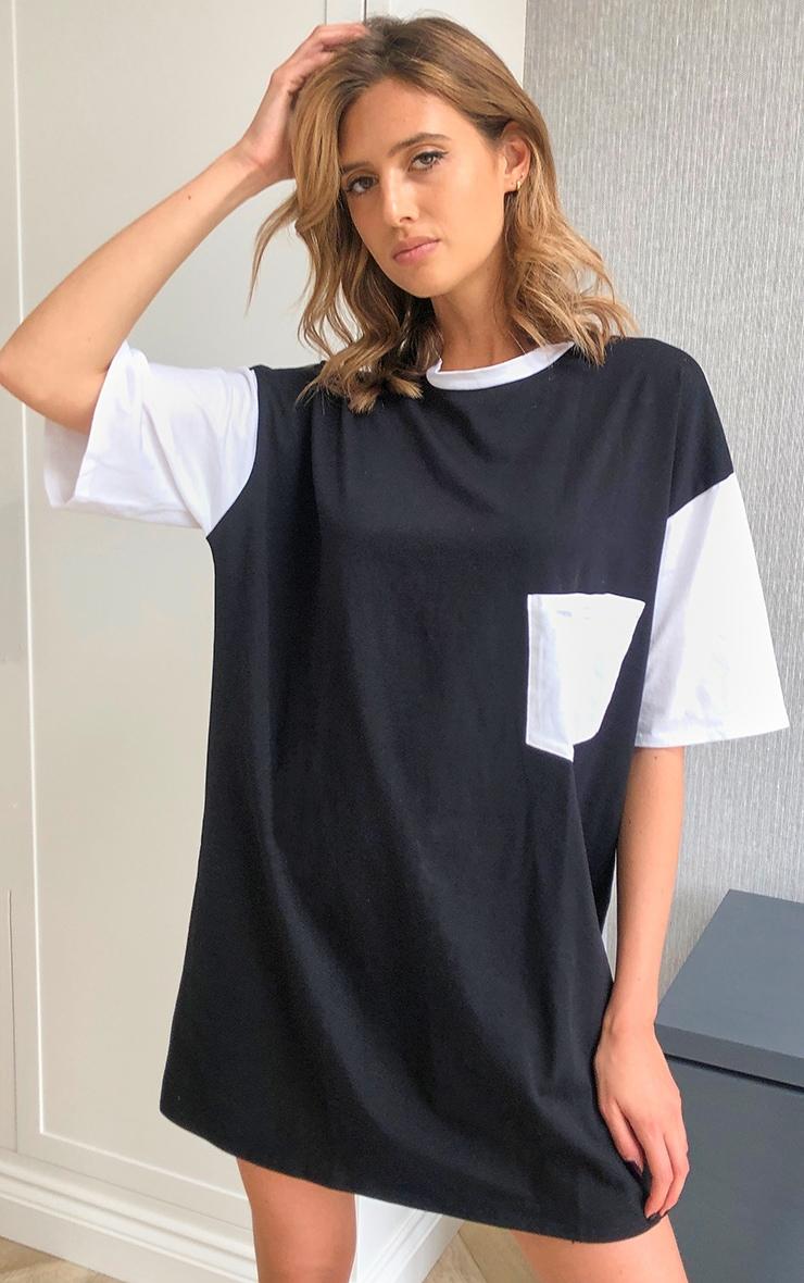 Mono Contrast Pocket Detail Oversized T Shirt Dress 1