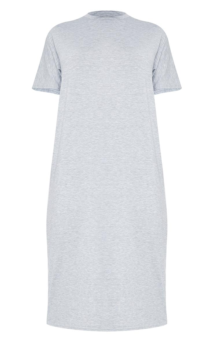 Tall Grey Marl Oversized Boxy Midi T Shirt Dress 5