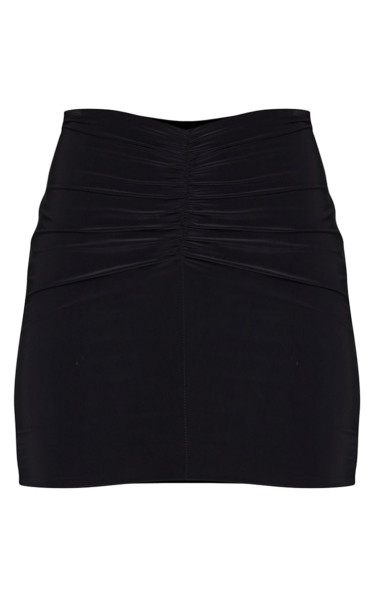 Black Slinky Ruched Front Mini Skirt 6