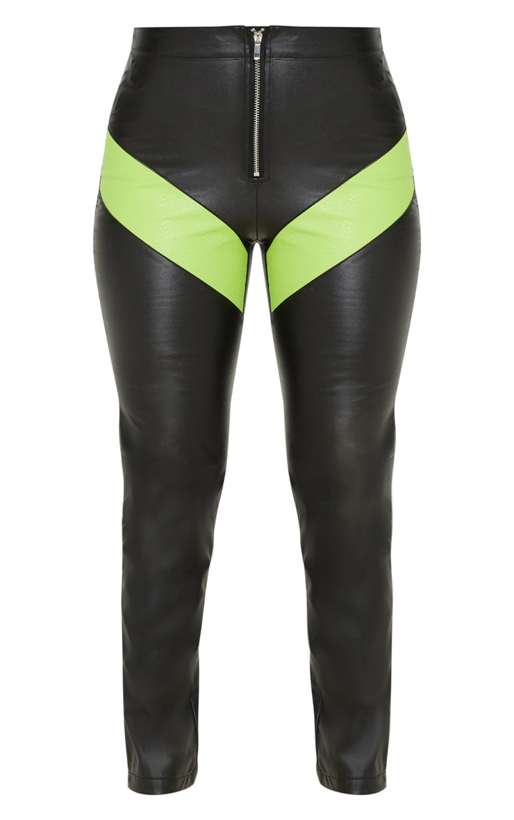 Pantalon droit en similicuir noir à zip et colourblocks fluo 3