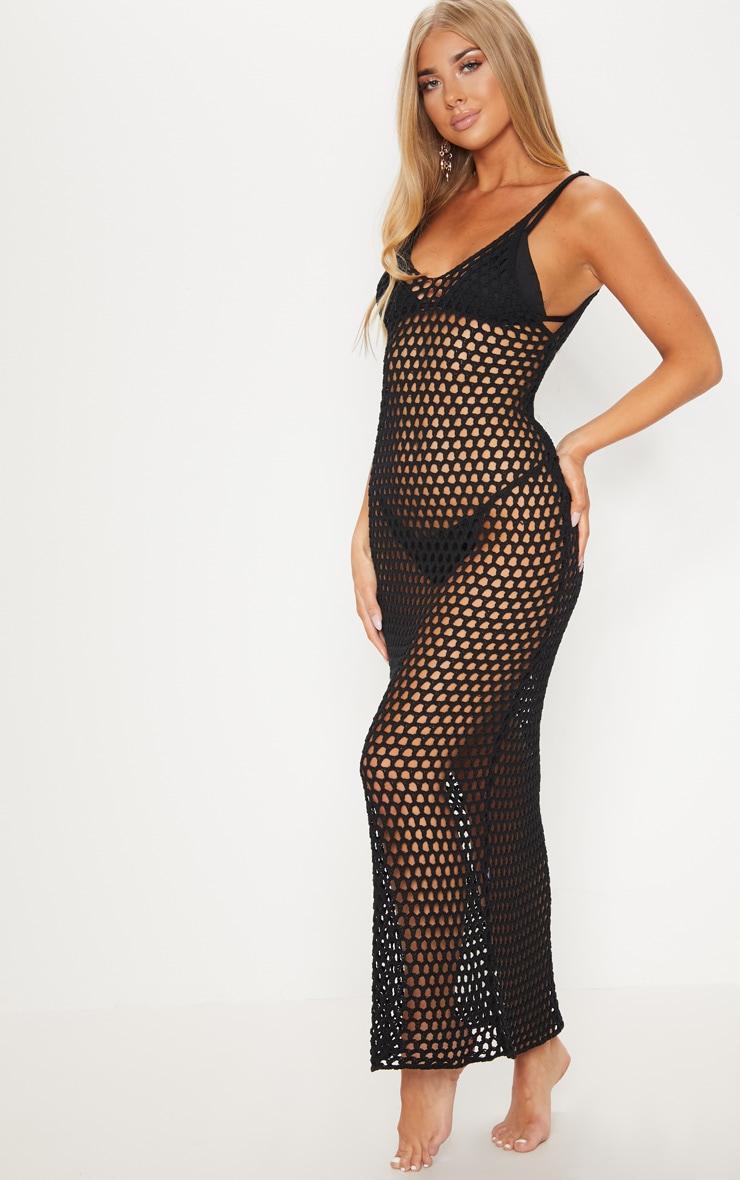 Black Crochet Open Knit Midi Dress 4