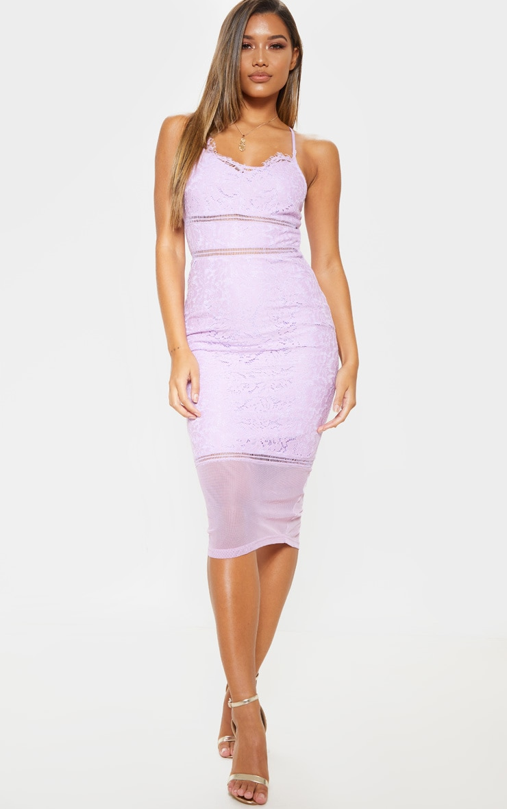 Lilac Lace Cross Back Strappy Midi Dress 1