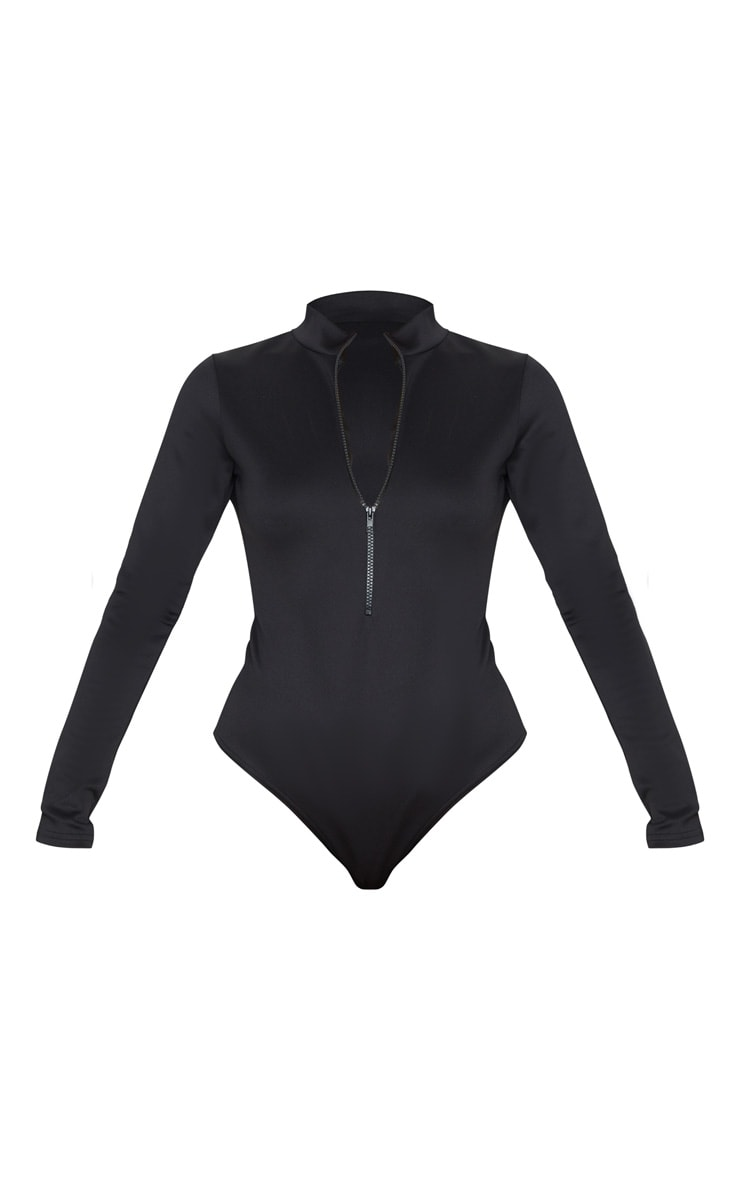 Black Bonded Scuba High Neck Zip Bodysuit 3