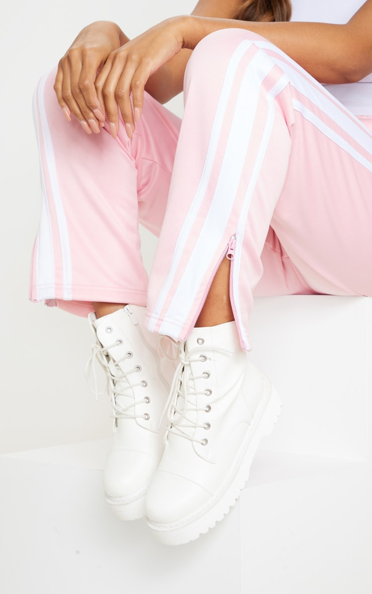 Baby Pink Zip Side Stripe Wide Leg Joggers 4