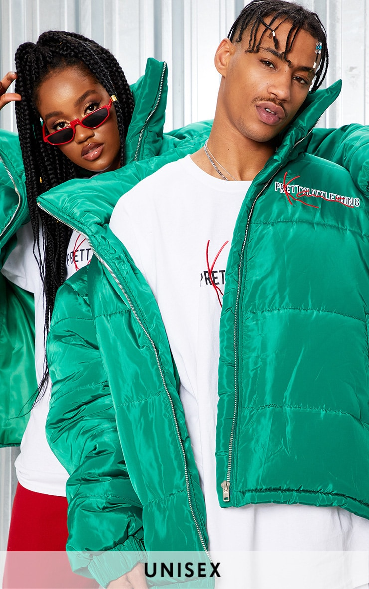 KARL KANI Green Embroidered Puffa Jacket 1