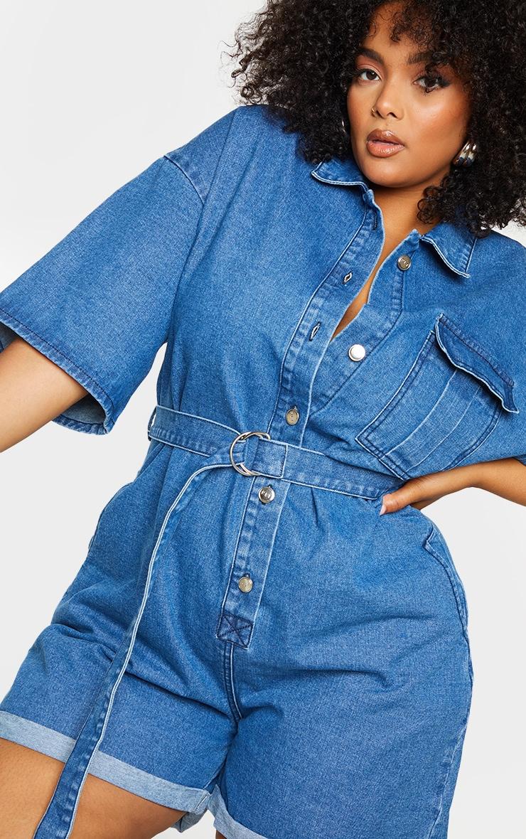 Plus Blue Wash Shorts Denim Playsuit 4
